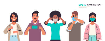 how to wear medical face mask covid-19 protection mix race people presenting step by step correct method of wearing mask to reduce coronavirus spreading horizontal portrait vector illustration Illustration