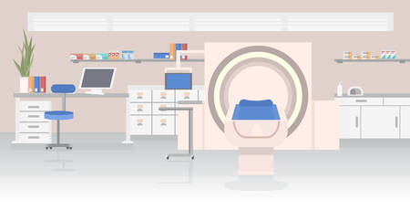 hospital room with MRI magnetic resonance imaging scan device medical healthcare concept laboratory with high technology contemporary equipment horizontal vector illustration Ilustracja