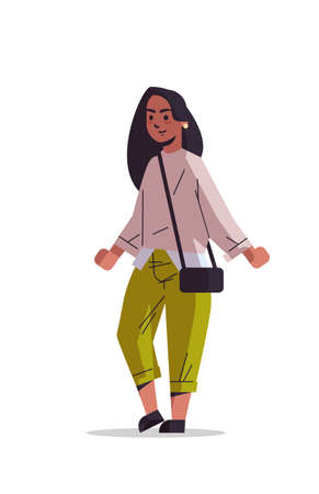 beautiful indian woman with handbag posing to camera smiling female cartoon character standing pose isolated vertical full length