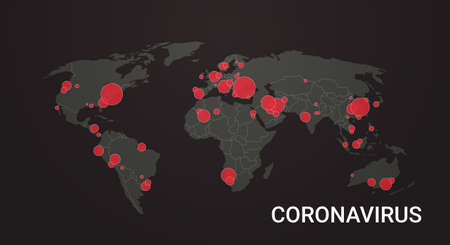 world map with location pins outbreak of coronavirus confirmed cases report worldwide globally infection epidemic MERS-CoV flu spreading floating influenza countries with Covid-19 horizontal