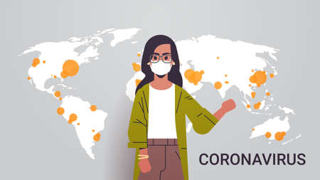 woman tv reporter in face mask showing world map outbreak of coronavirus pandemic spread infection epidemic MERS-CoV countries with Covid-19 horizontal portrait