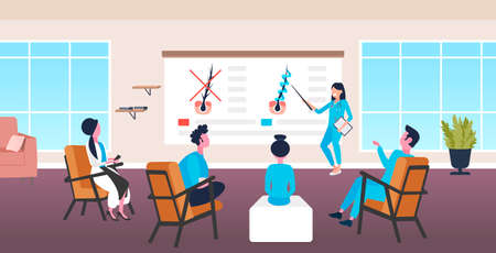 dermatologist explaining hair follicle structure for doctors team hair keratin strengthening treatment presentation healthcare concept office interior horizontal full length vector illustration