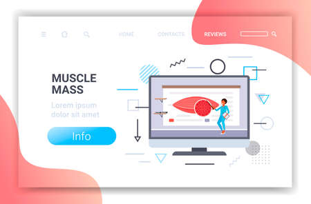 doctor explaining anatomy of human muscles presentation on computer screen healthcare muscle mass concept horizontal full length copy space vector illustration