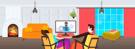 couple sitting at home on self-isolation man woman in masks watching tv on coronavirus quarantine protection healthcare concept living room interior horizontal vector illustration