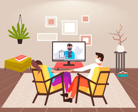 couple sitting at home on self-isolation man woman in masks watching tv on coronavirus quarantine protection healthcare concept living room interior vector illustration