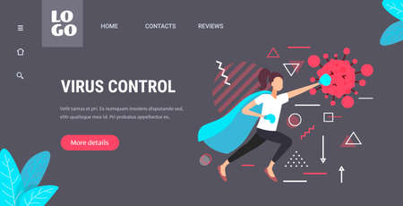 woman in hero cape and gloves fighting against coronavirus covid-19 virus control concept horizontal copy space full length vector illustration