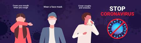 set basic protective measures against coronavirus protect yourself from 2019-nCoV healthcare concept Ilustração Vetorial