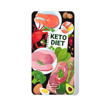 healthy food keto diet concept selection of good fat sources low carbs products composition on wooden background smartphone screen mobile app vector illustration