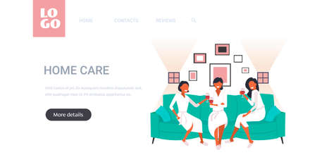 beautiful women in bathrobes drinking wine having fun home care concept girls sitting on sofa relaxing during bachelorette party full length horizontal copy space vector illustration