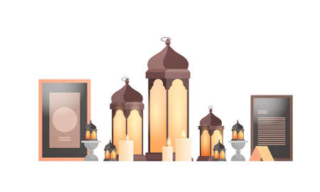 set lanterns candles isolated on white background ramadan kareem muslim religion holy month Illustration
