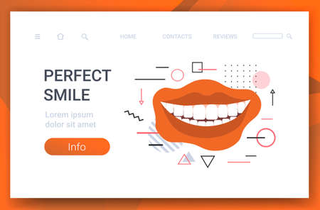 closeup beautiful woman smiling perfect smile dental care and whitening teeth horizontal copy space vector illustration