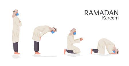 religious muslim man in mask praying positions ramadan kareem holy month coronavirus pandemic Illusztráció