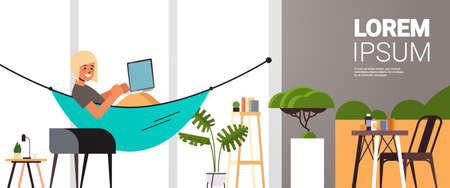 woman freelancer using laptop working at home during coronavirus quarantine self-isolation freelance social distancing concept living room interior horizontal full length copy space vector illustration