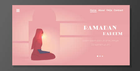 religious muslim woman praying ramadan kareem holy month religion concept