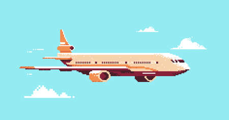 pixel art plane aircraft flying in sky air passenger transport airline service concept horizontal