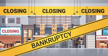 empty closed bar with yellow bankruptcy closing tape coronavirus pandemic quarantine covid-19 concept no people cafe interior horizontal vector illustration Illustration