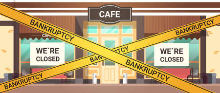 empty closed bar with yellow bankruptcy closing tape coronavirus pandemic quarantine covid-19 concept modern cafe exterior horizontal vector illustration