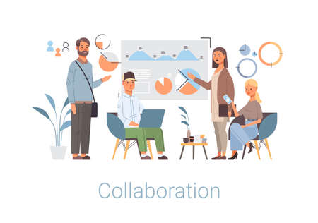 businesspeople group analyzing financial graph business people working together teamwork collaboration concept horizontal full length vector illustration