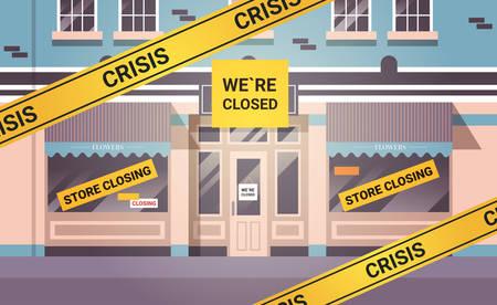 empty closed flower shop with yellow bankruptcy closing tape coronavirus pandemic quarantine covid-19