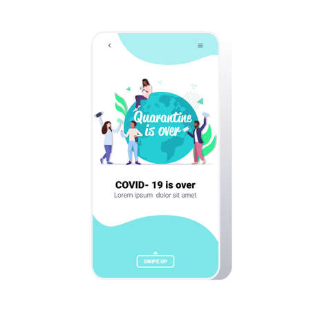 mix race men women near globe quarantine is ending coronavirus win people celebrating victory over covid-19 virus concept smartphone screen mobile app full length vector illustration