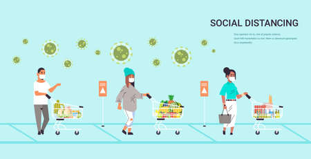 customers in protective masks with groceries keeping distance to prevent coronavirus pandemic Ilustrace