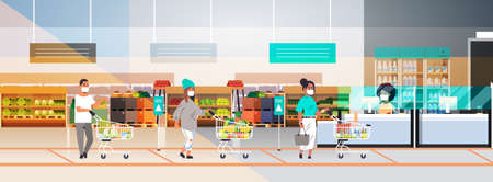 customers in protective masks with groceries keeping distance to prevent coronavirus pandemic