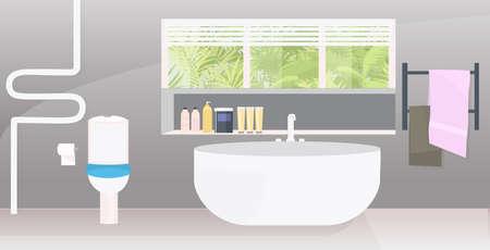 modern bathroom interior empty no people apartment with furniture horizontal 向量圖像