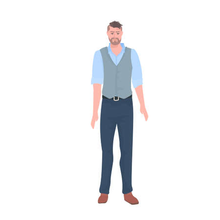 young man in casual clothes male cartoon character standing pose full length Illusztráció