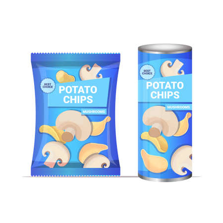 potato chips with mushrooms flavor crisps natural potatoes packaging advertising design template Vettoriali