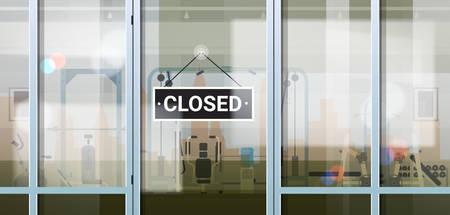 sorry we are closed sign hanging outside sport gym coronavirus pandemic quarantine