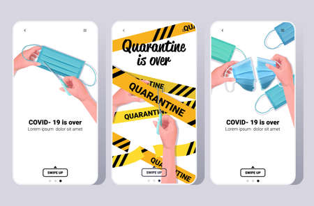 set covid-19 virus pandemic is over coronavirus quarantine ending smartphone screens collection mobile app copy space horizontal vector illustration