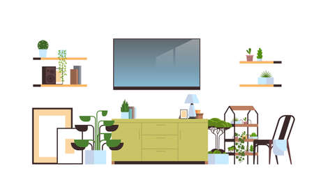 modern living room interior isolated on white background empty no people apartment with furniture horizontal vector illustration