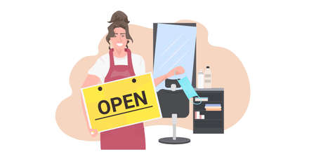 hairdresser taking off face mask holding open sign board coronavirus quarantine is ending victory over covid-19 concept modern beauty salon interior horizontal portrait vector illustration