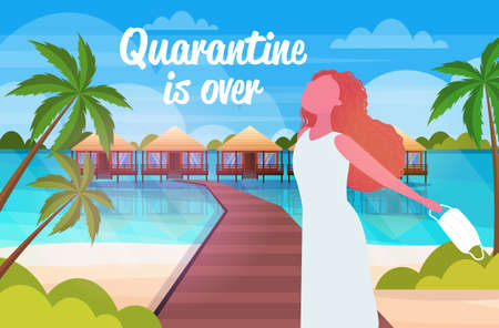 girl taking off medical mask coronavirus quarantine is ending victory over covid-19 concept summer vacation on tropical beach horizontal portrait vector illustration