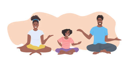 family doing yoga exercises african american parents with daughter sitting lotus pose healthy lifestyle concept flat full length horizontal isolated vector illustration