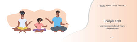 family doing yoga exercises african american parents with daughter sitting lotus pose healthy lifestyle concept flat full length horizontal isolated copy space vector illustration