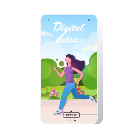 woman jogging in park girl resting from devices healthy lifestyle digital detox concept
