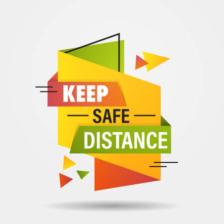 keep safe distance sticker open again after coronavirus quarantine over advertising campaign concept