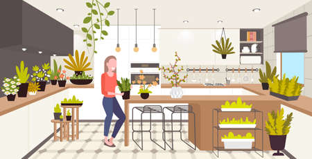 woman taking care of houseplants girl enjoying ecology hobby stay home lifestyle kitchen interior Illusztráció