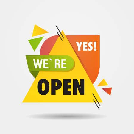 big opening sticker we are open again after coronavirus quarantine over advertising campaign concept Ilustración de vector