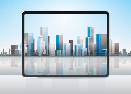transparent tablet computer screen cityscape background realistic gadgets and devices concept Illusztráció