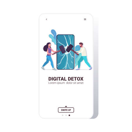 couple hitting smartphone screen with hammers digital detox rest from devices concept