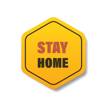 stay home sticker coronavirus pandemic quarantine covid-19 virus spreading concept Ilustracja
