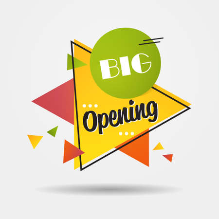 big opening sticker we are open again after coronavirus quarantine over advertising campaign concept