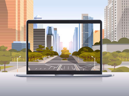 transparent laptop screen cityscape background realistic gadgets and devices concept