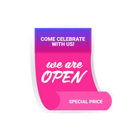come celebrate with us we are open sticker coronavirus quarantine is over advertising campaign concept