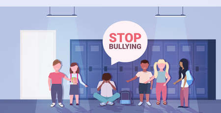 schoolboy being bullied by mix race classmates violence social anxiety stop bullying psychotherapy concept Illustration