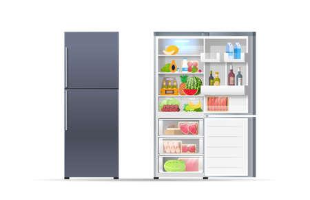 open and closed refrigerator fridge full of fresh food horizontal isolated vector illustration