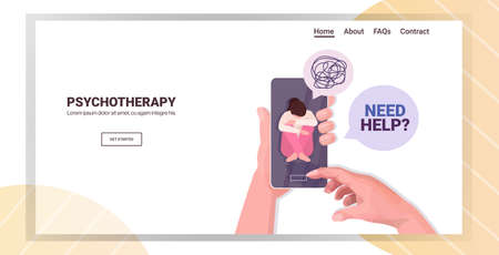 psychotherapist using mobile app consulting patient during internet psychotherapy session Ilustracje wektorowe