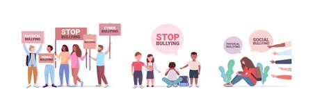 set stop bullying violence social anxiety psychotherapy concept horizontal Illustration
